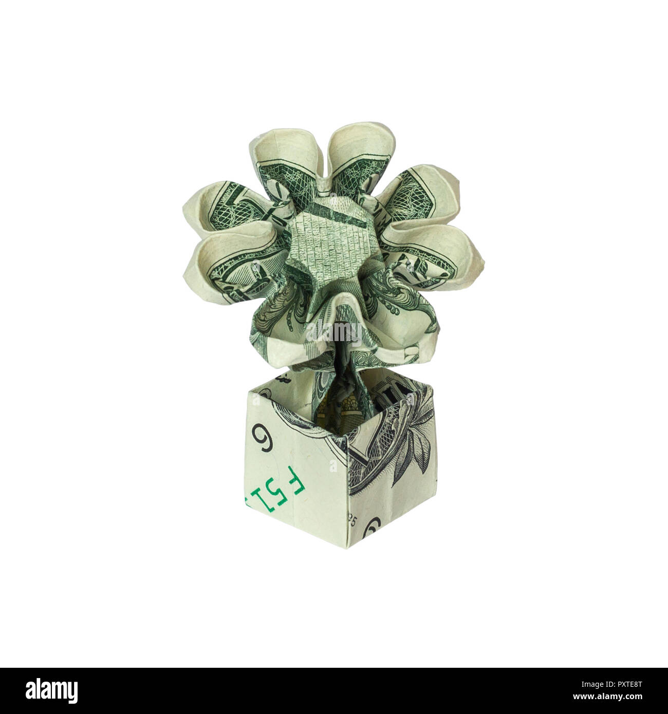 Money Origami Flower In Pot Folded With Real One Dollar Bill