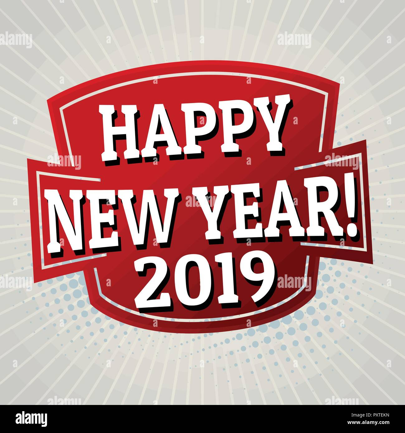 happy new year 2019 label or sticker on grey background vector illustration