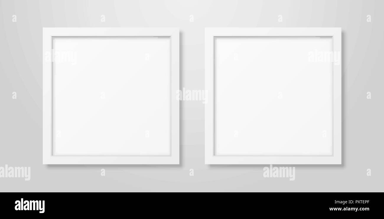 Two Vector Realistic Modern Interior White Blank Square Wooden ...