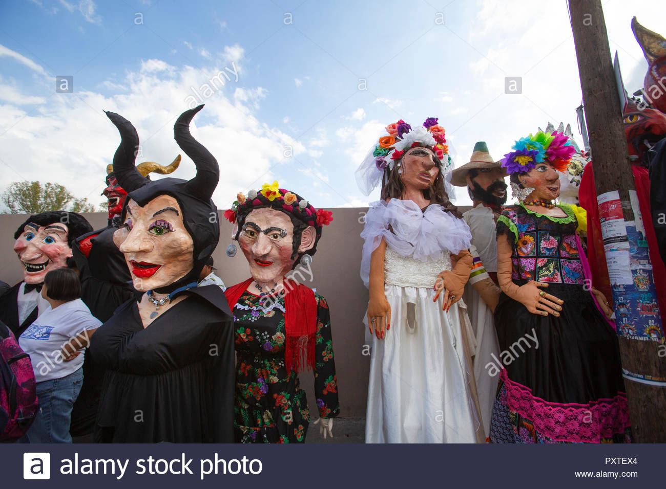 Mojigangas, giant puppets, at an annual parade - Stock Image