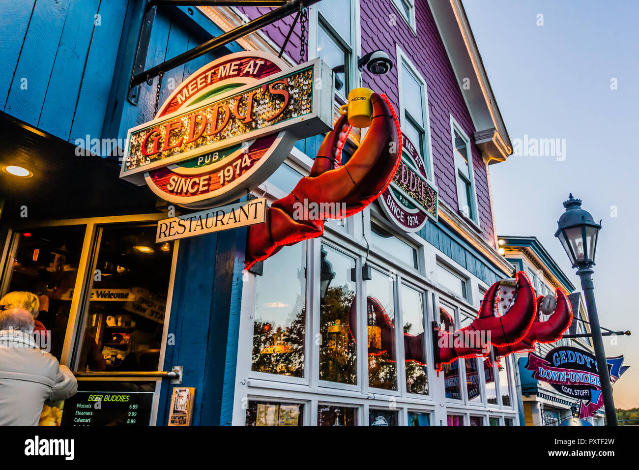 Geddy S Restaurant Bar Harbor Maine Usa Stock Photo