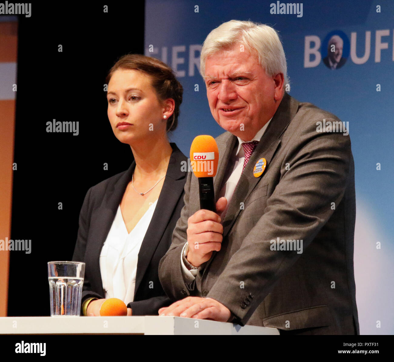 Dieburg, Germany. 23rd Oct, 2018. Volker Bouffier, the Minister President of the German state of Hesse, speaks at the election rally. German Chancellor Angela Merkel attended a political rally of her CDU party in Dieburg ahead of the upcoming state election in the German state of Hesse. With less than a week to go to the election, the CDU is still leading the polls, but gas lost more than 10% compared to the last election. Credit: Michael Debets/Pacific Press/Alamy Live News - Stock Image