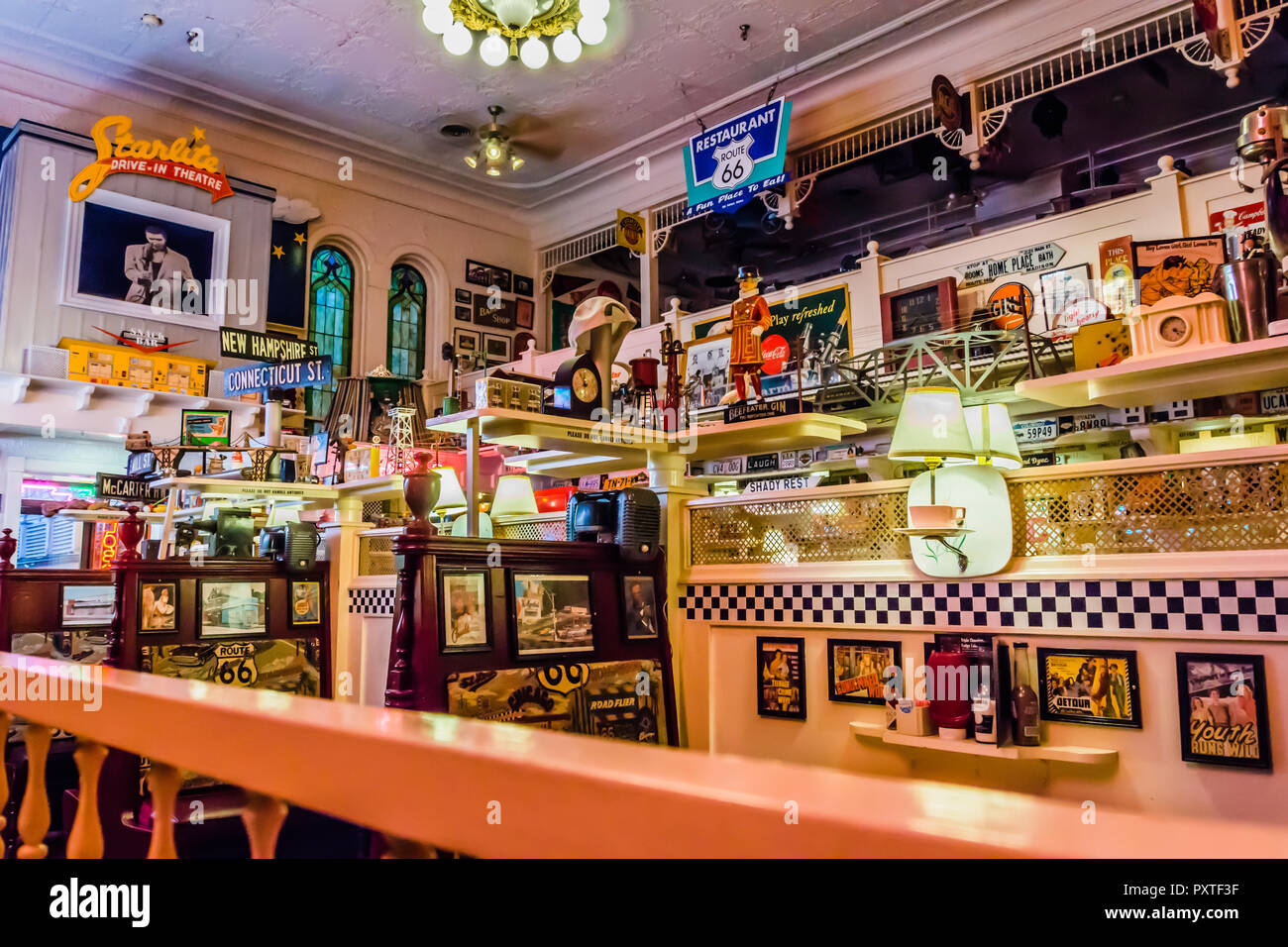 Route 66 Restaurant Bar Harbor Maine Usa Stock Photo