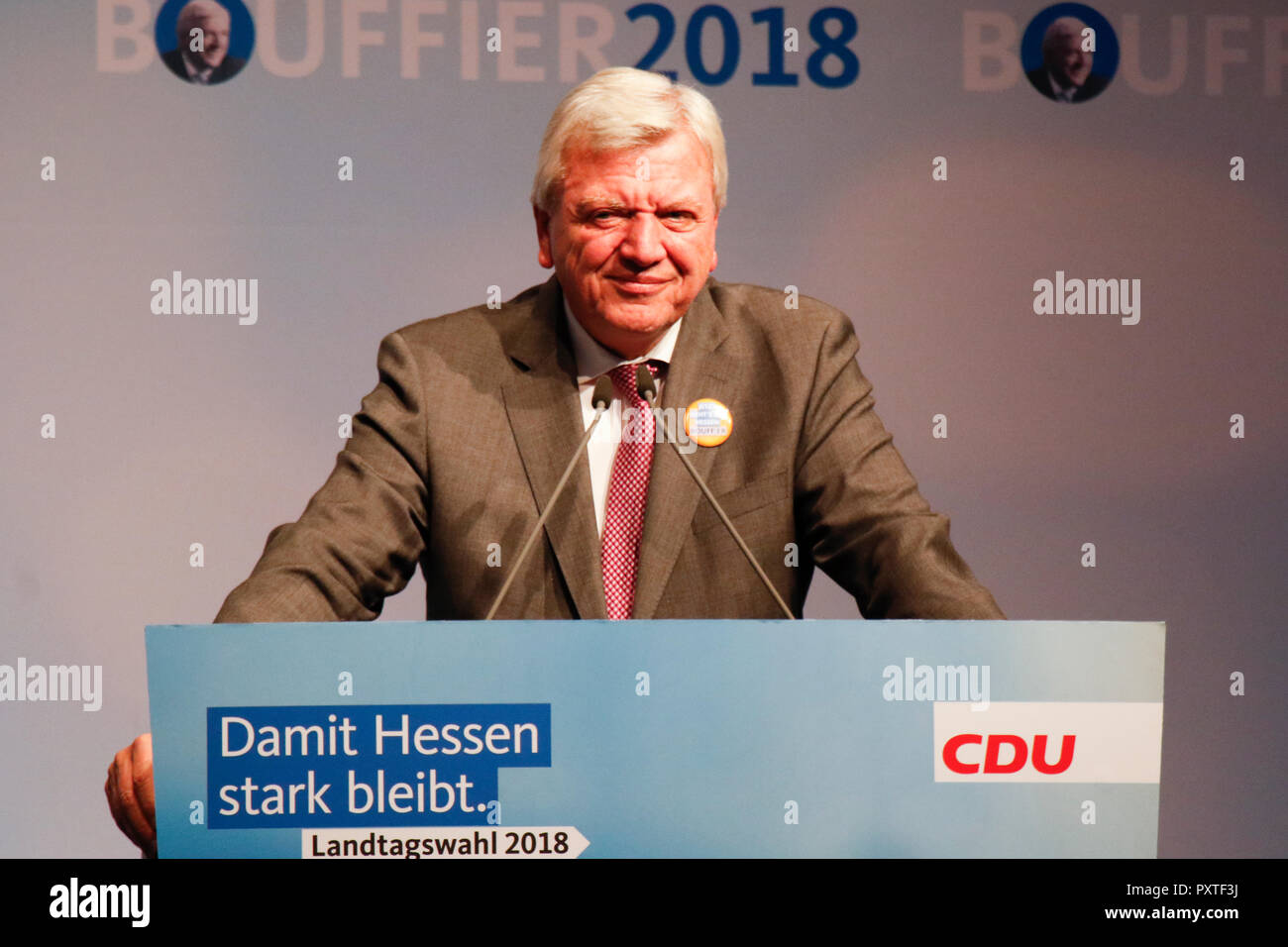 Dieburg, Germany. 23rd Oct, 2018. Volker Bouffier, Minister President of the German state of Hesse, speaks at the election rally. German Chancellor Angela Merkel attended a political rally of her CDU party in Dieburg ahead of the upcoming state election in the German state of Hesse. With less than a week to go to the election, the CDU is still leading the polls, but gas lost more than 10% compared to the last election. Credit: Michael Debets/Pacific Press/Alamy Live News - Stock Image