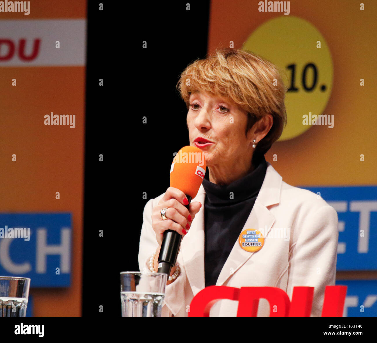 Dieburg, Germany. 23rd Oct, 2018. German Chancellor Angela Merkel attended a political rally of her CDU party in Dieburg ahead of the upcoming state election in the German state of Hesse. With less than a week to go to the election, the CDU is still leading the polls, but gas lost more than 10% compared to the last election. Credit: Michael Debets/Pacific Press/Alamy Live News - Stock Image