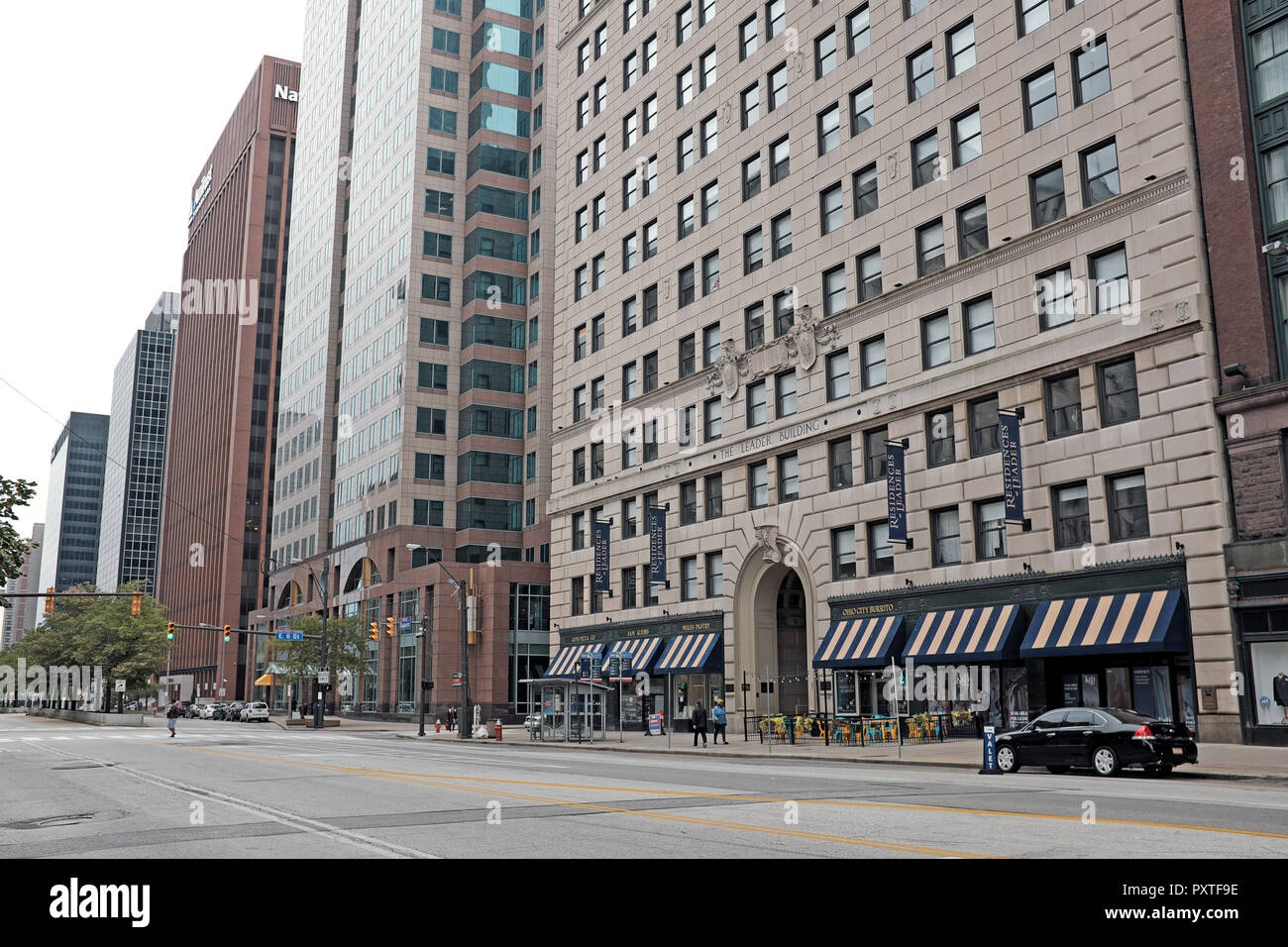 The beaux-arts style Leader Building, on Superior Avenue, in downtown Cleveland, Ohio, USA is named for the daily newspaper once produced in it. Stock Photo