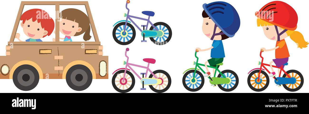 Kids Playing With Toy Car And Bike Illustration Stock Vector Art