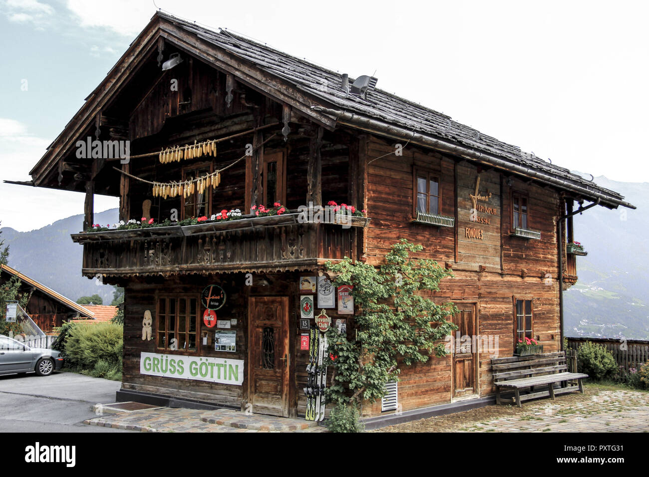 Altes Holzhaus in Ladis, Tirol, Österreich, Old wooden house in Ladis, Tyrol, Austria, ladis, village, center, inn valley, europe, wood, wooden, house - Stock Image