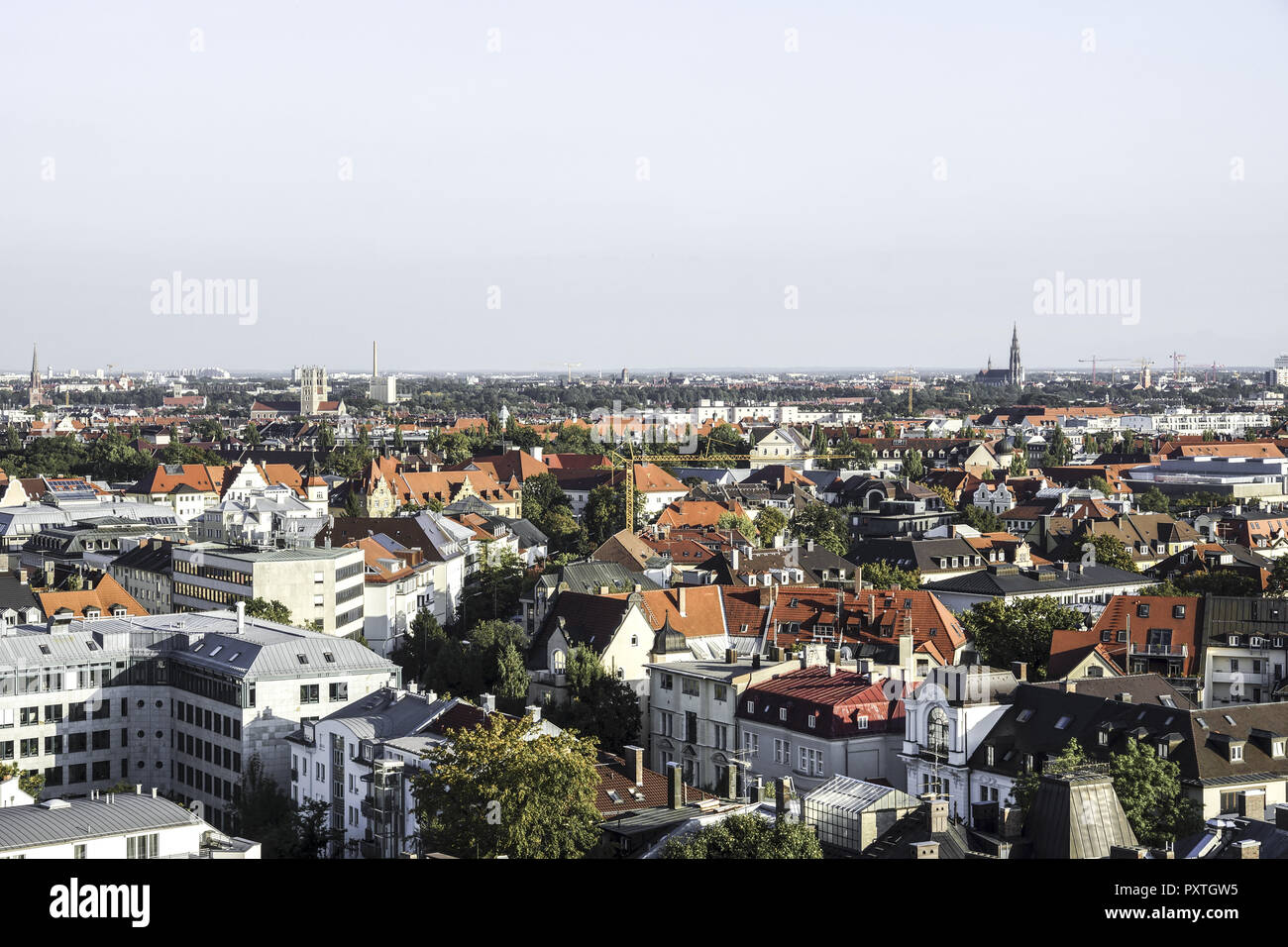 Blick auf die Wiesn, Münchner Oktoberfest, Bayern, Deutschland - Stock Image