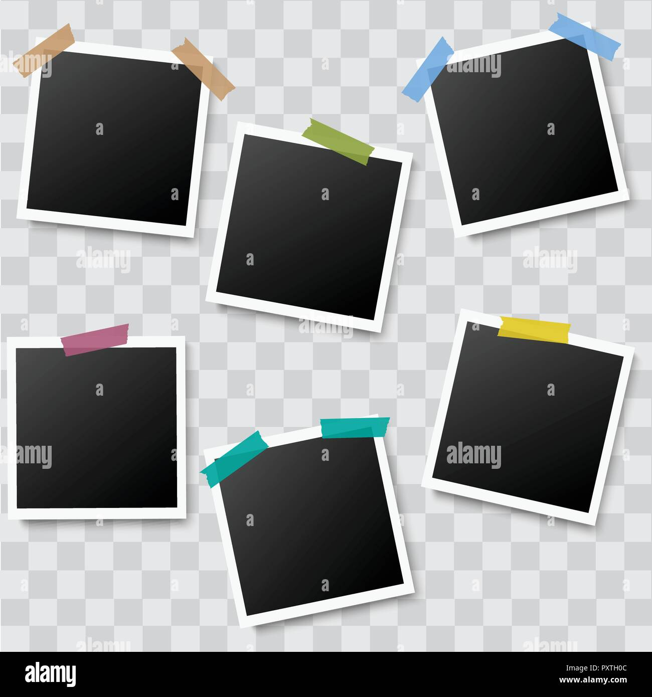 Set of realistic photo frames with adhesive tapes on transparent background. Vector. Stock Vector