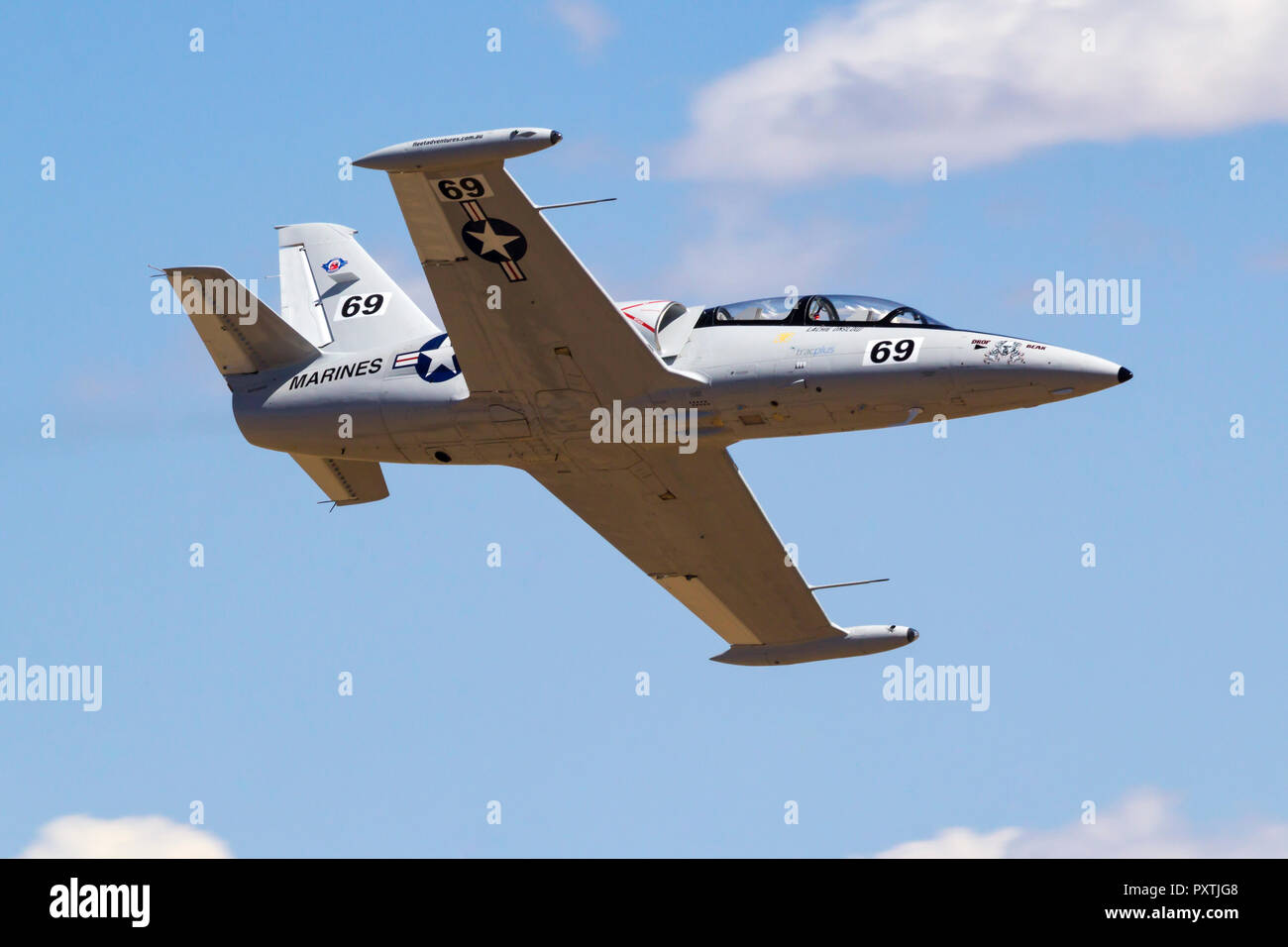 Lachie Onslow from Australia pilots 'Drop Bear' an Aero Vodochody L-39 Albatross down the Valley of Speed during a Jet Class Heat Race as part of the  - Stock Image