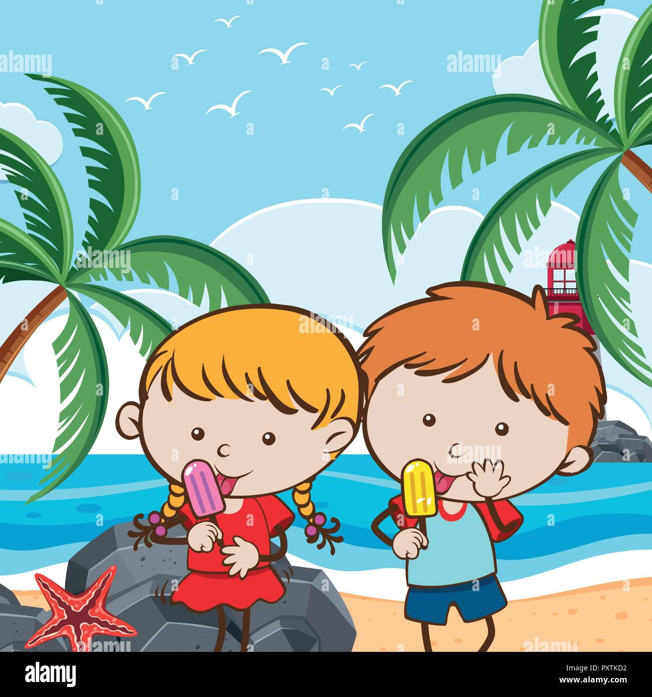 A Couple Eating Ice Cream in Hot Summer illustration - Stock Vector