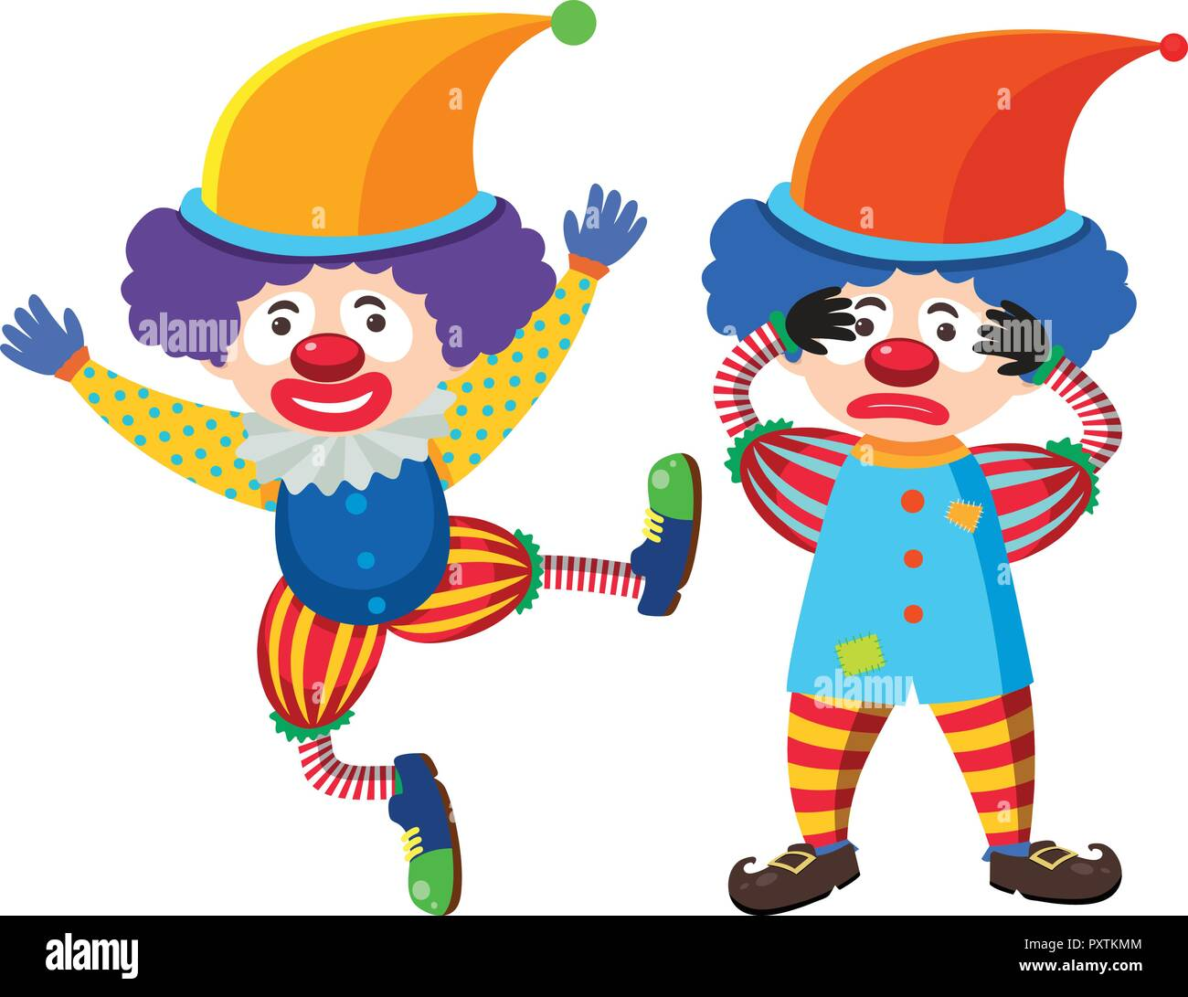 Two circus clowns in colorful costume illustration - Stock Vector