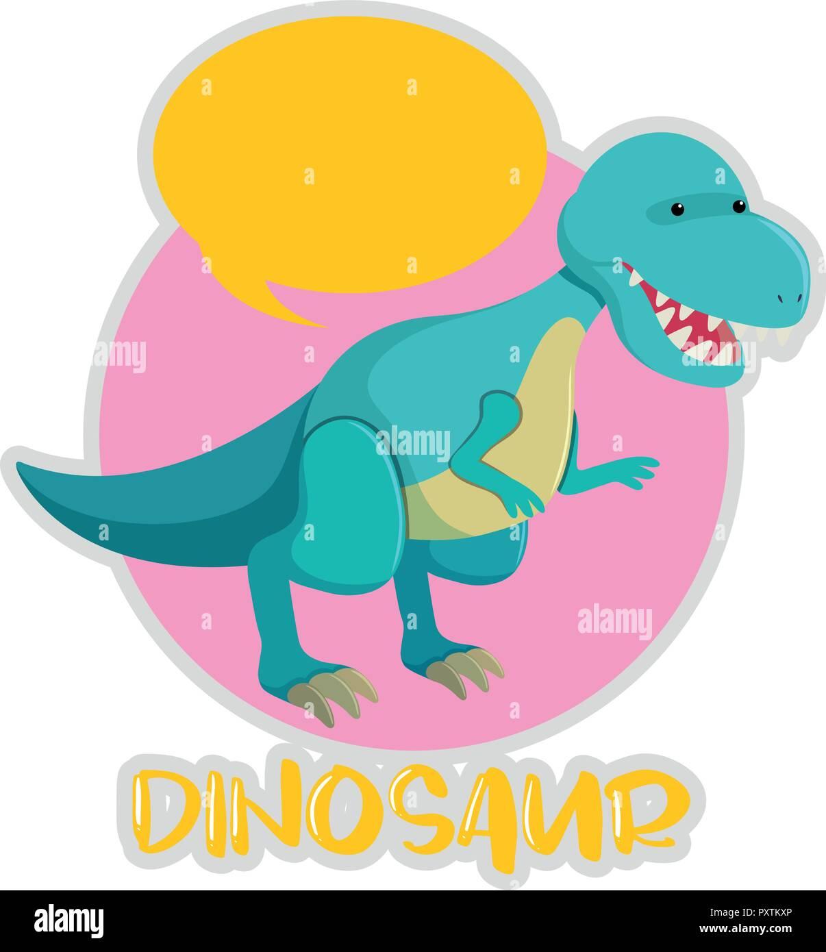 Tyrannosaurus Rex in blue color illustration Stock Vector