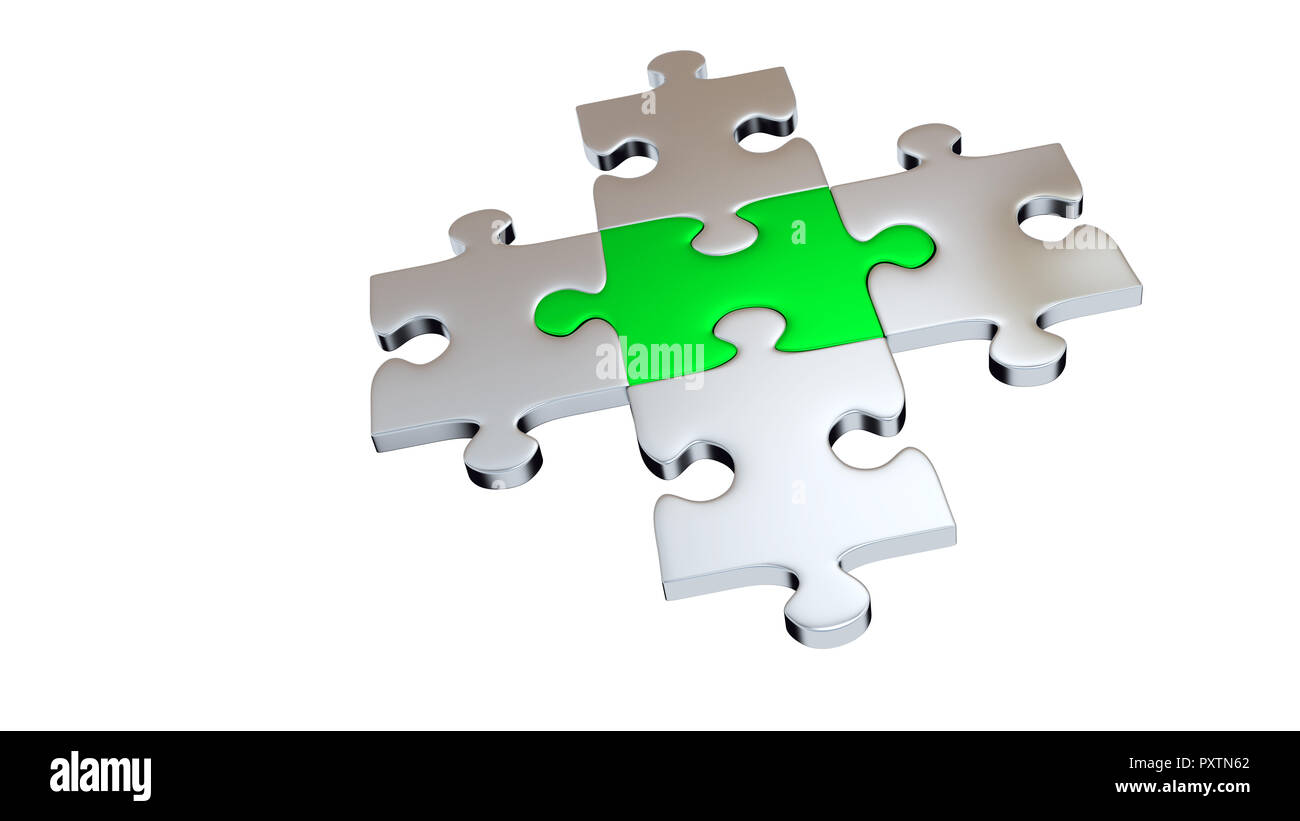 Four Grey Puzzle Pieces encircle One Green Piece with a white background - Stock Image