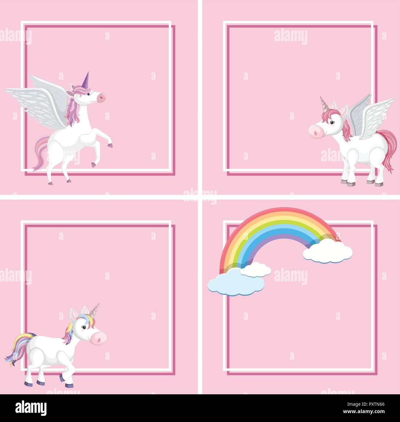 Unicorn Template On Pink Background Illustration Stock Vector Image Art Alamy