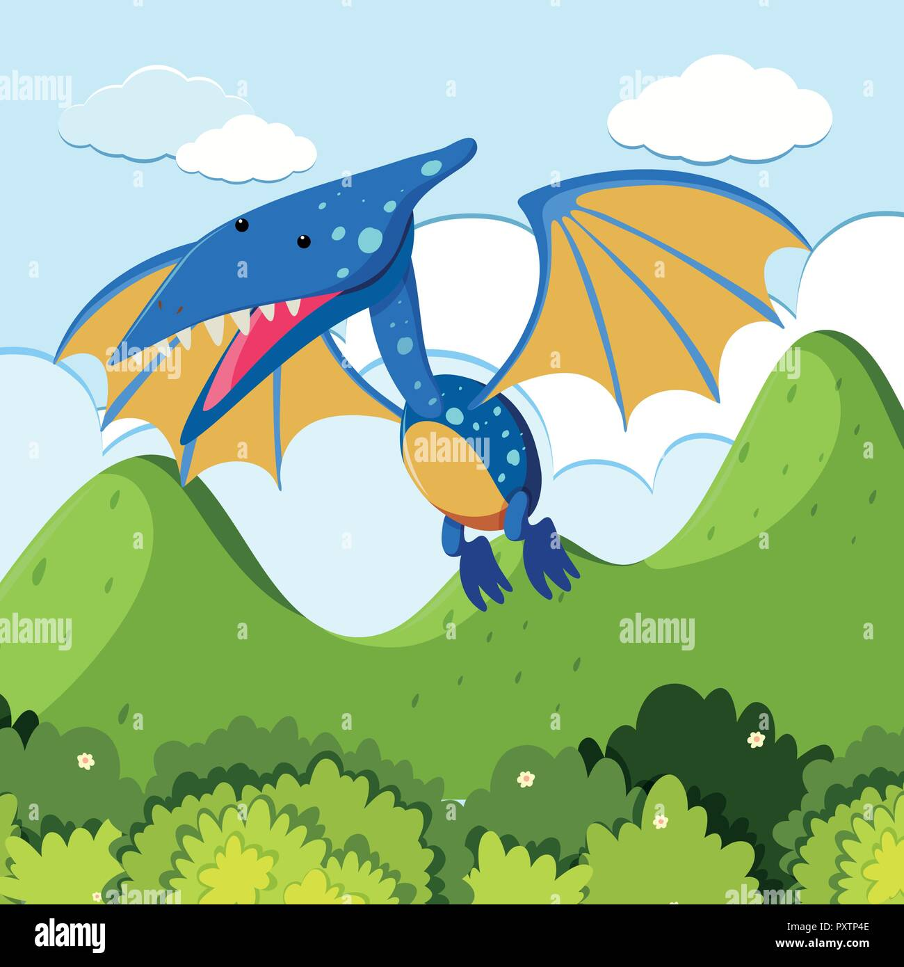 Pterosaur flying over the mountains illustration Stock Vector