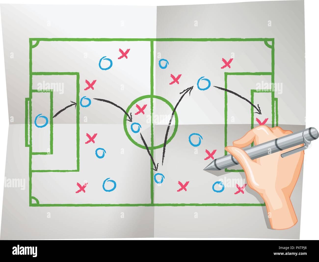 Game plan on draft paper illustration - Stock Vector