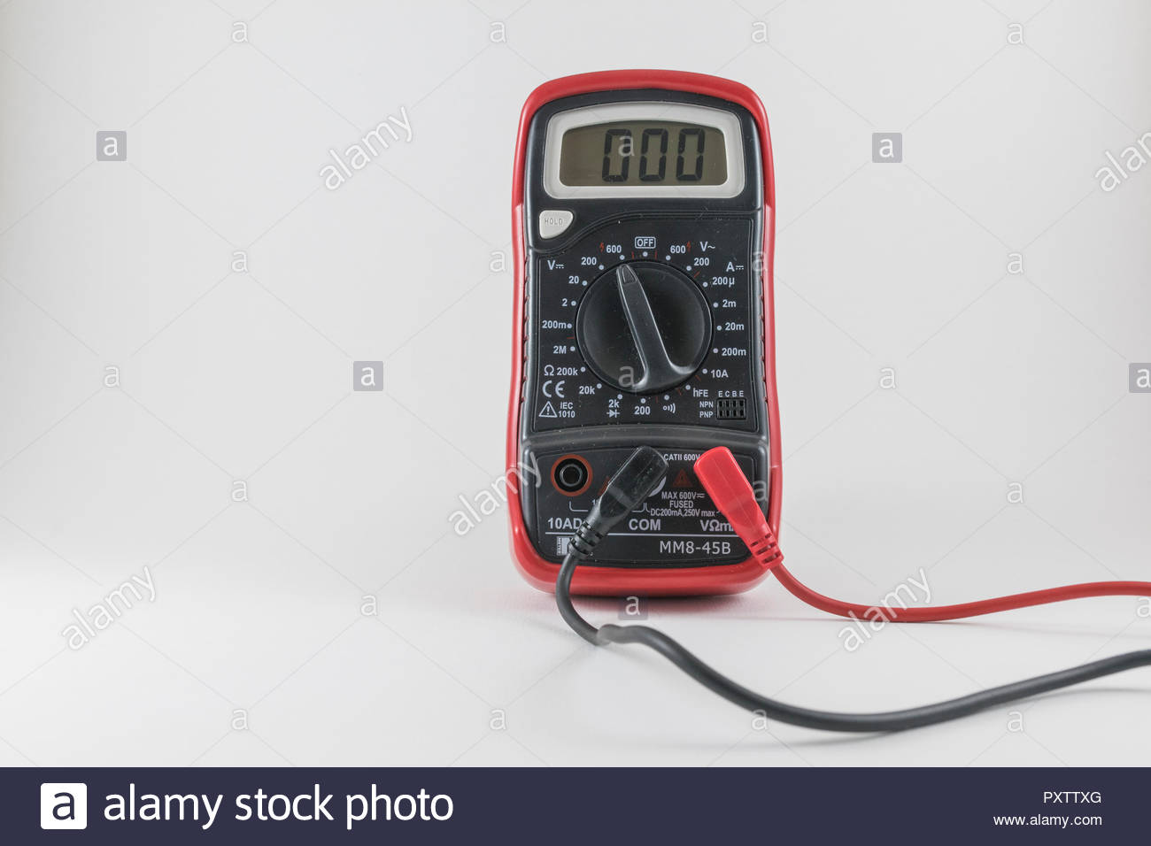 Electronic multimeter for measuring voltage, current and electrical resistance - Stock Image