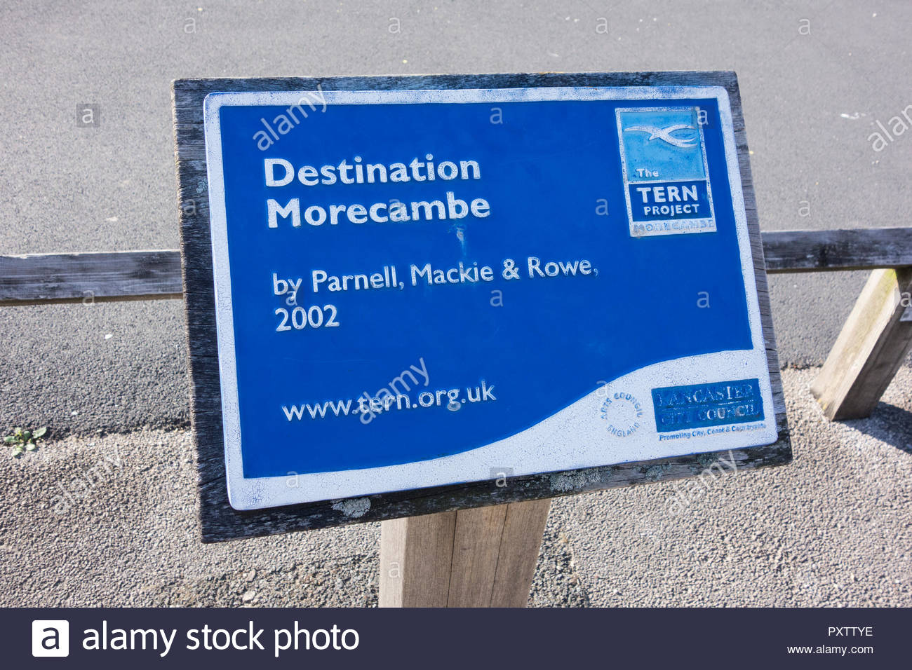 A plaque for Destination Morecambe, part of the Tern Project completed in Morecambe, Lancashire in 2002 - Stock Image