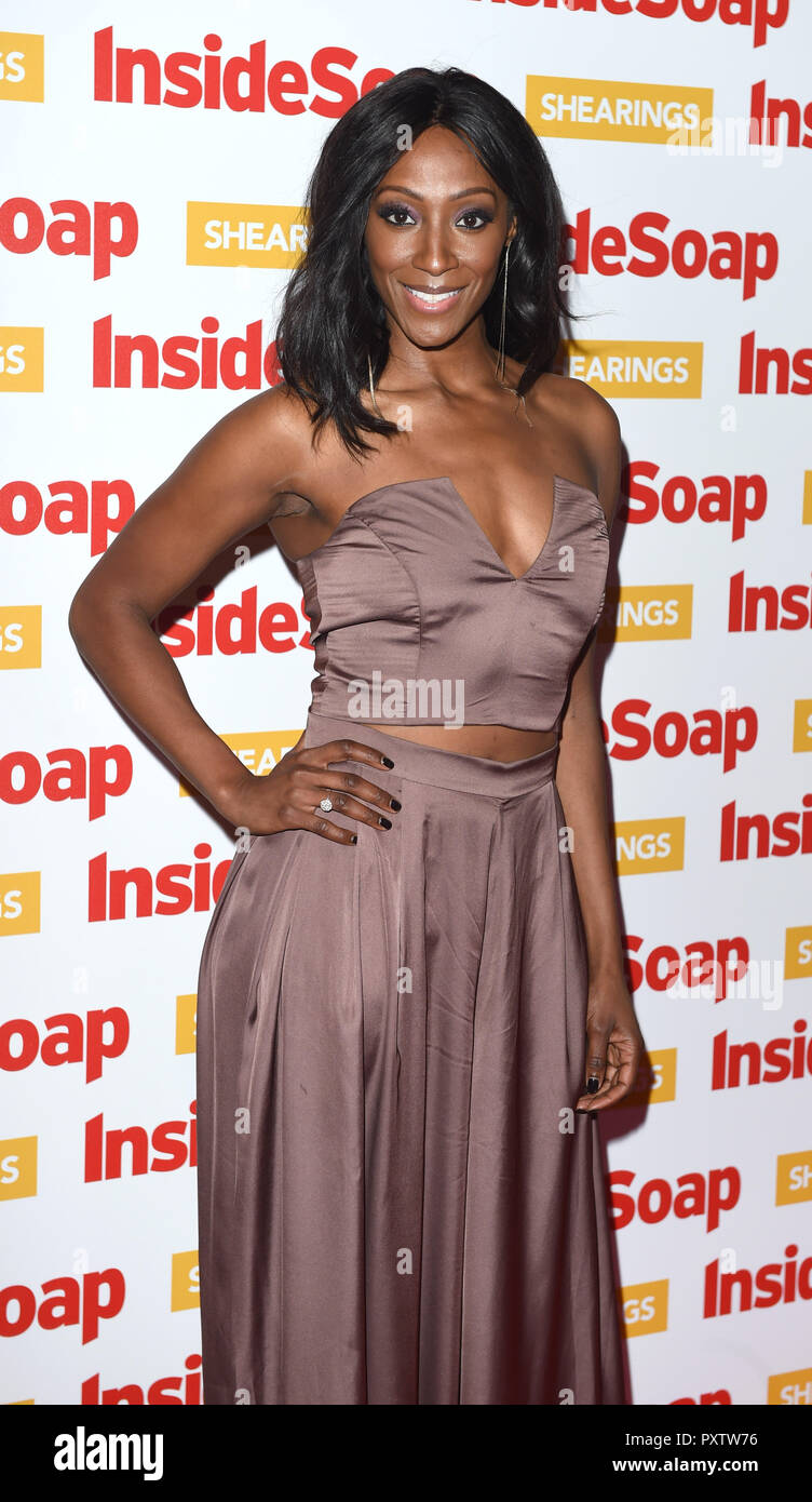 Photo Must Be Credited ©Alpha Press 079965 22/10/2018 Victoria Ekanoye  Inside Soap Awards 2018 100 Wardour Street London - Stock Image