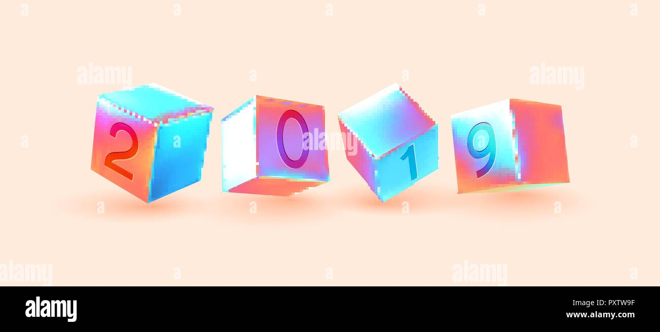 2019 New Year number cubes  Minimal abstract art with