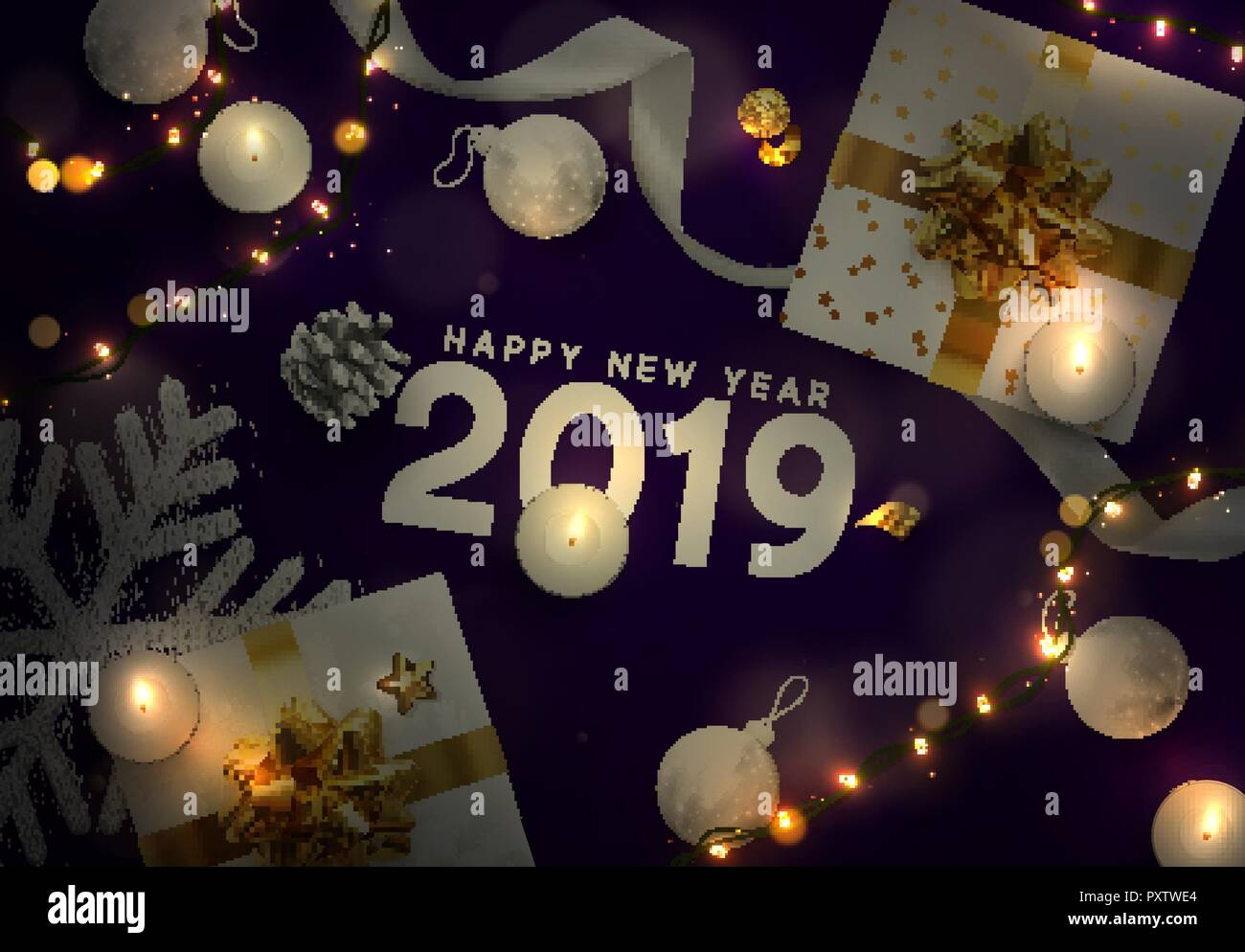 2019 happy new year christmas vector purple background creative