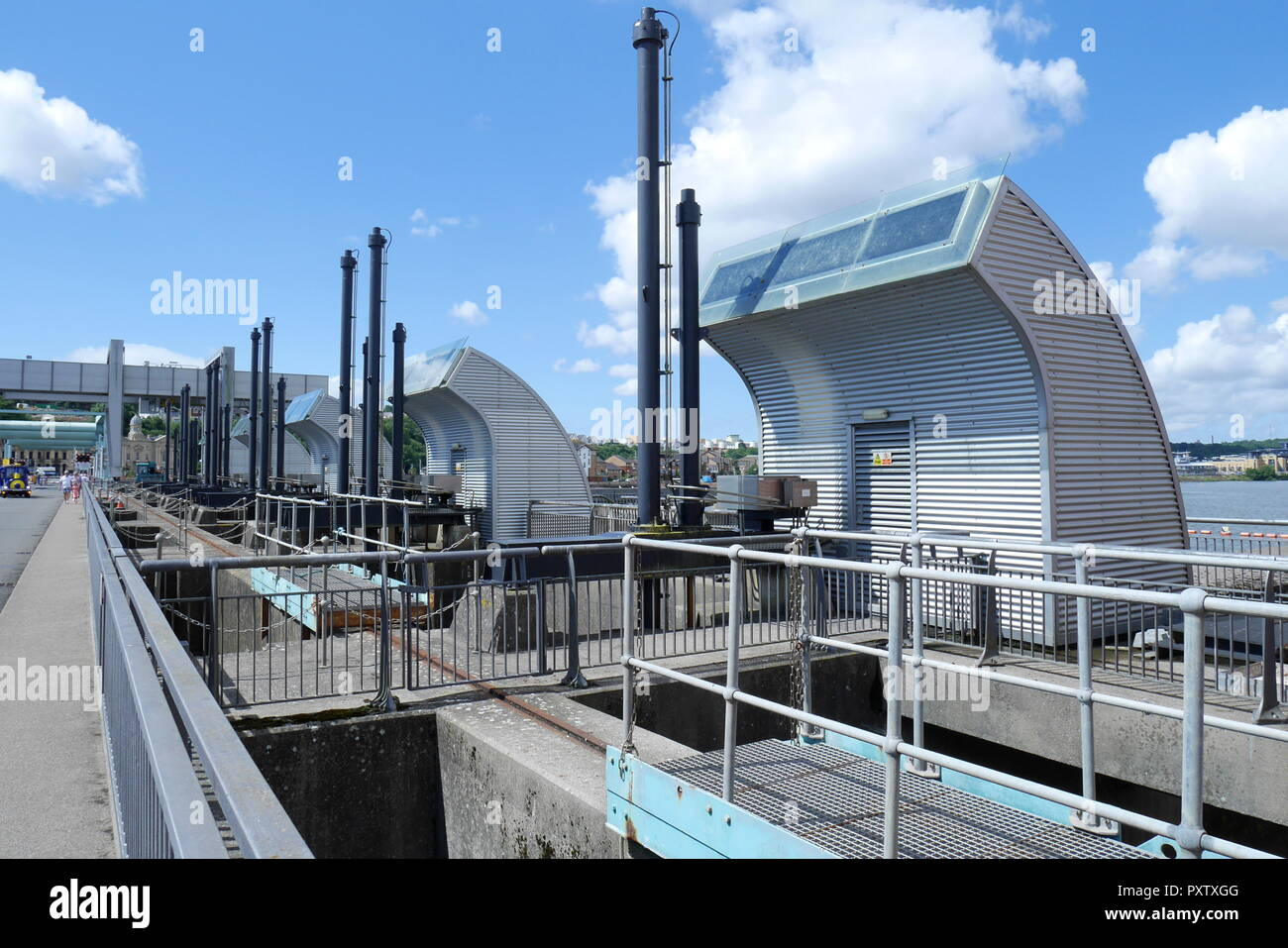 Cardiff Bay Barrage, showing the sluice contro shafts, connecting Cardiff and Penarth, Cardiff, South Wales, United Kingdom - Stock Image