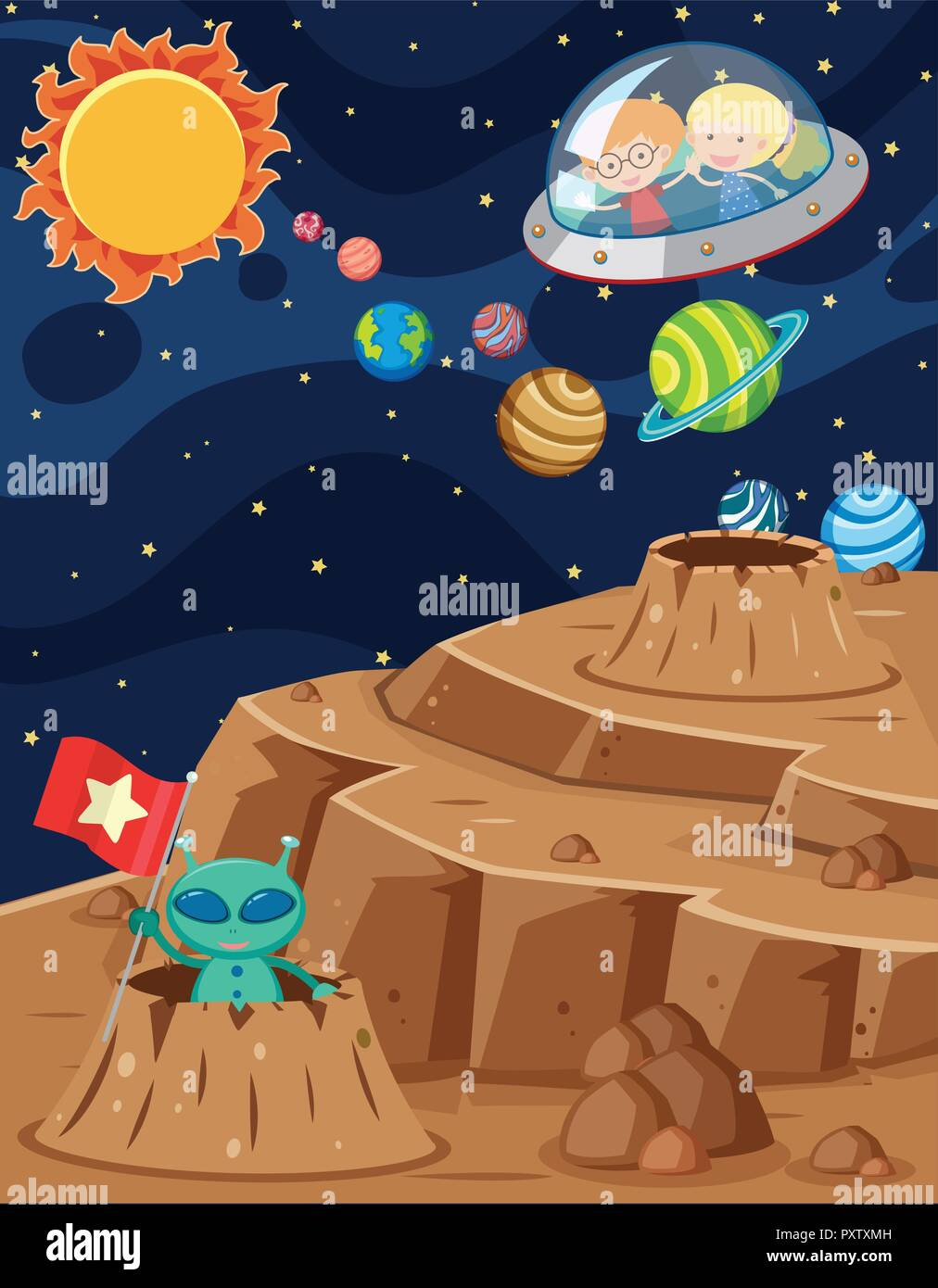 Space Scene With Kids Riding In Spaceship Illustration