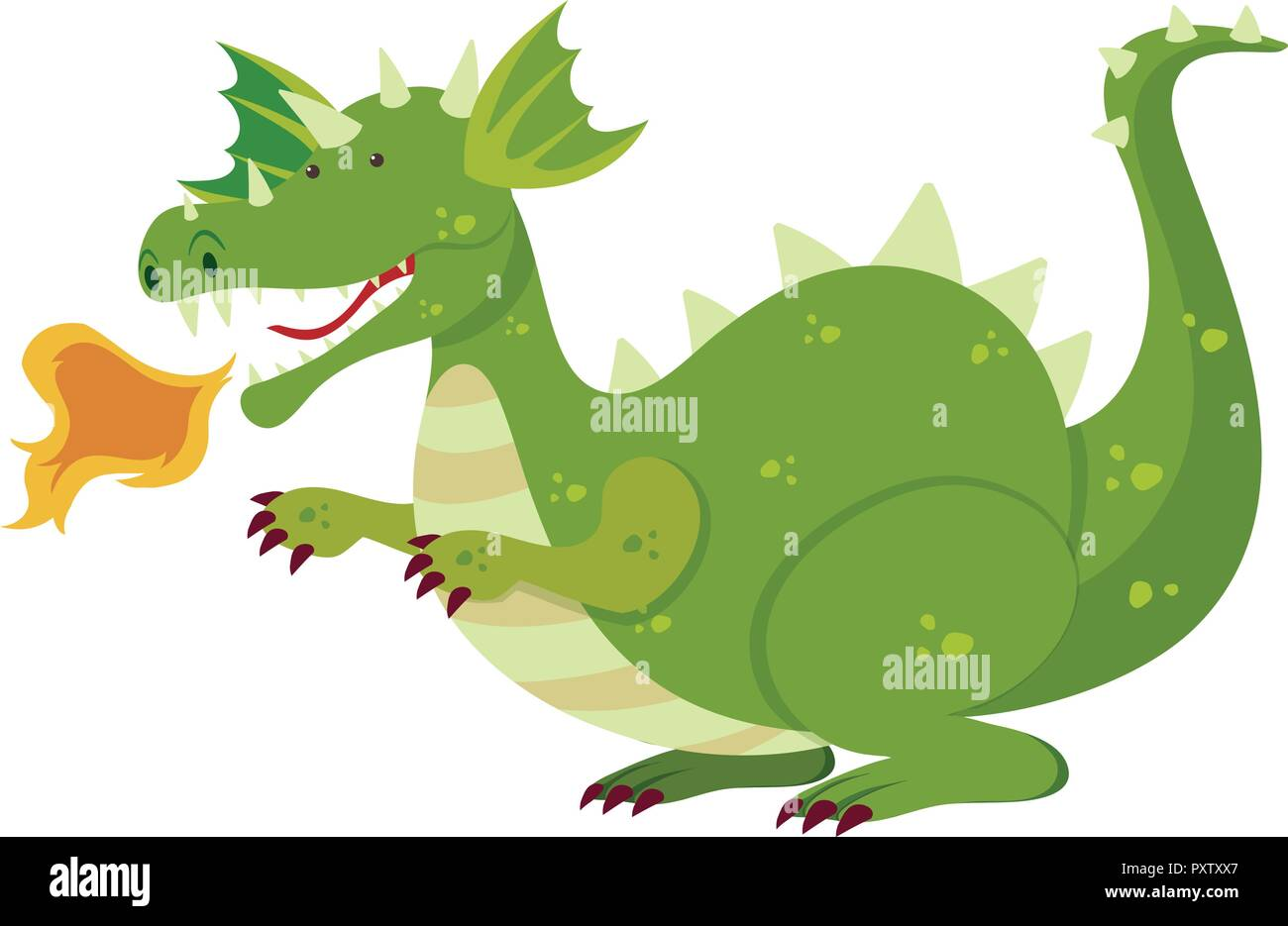 Green dragon blowing fire illustration - Stock Vector