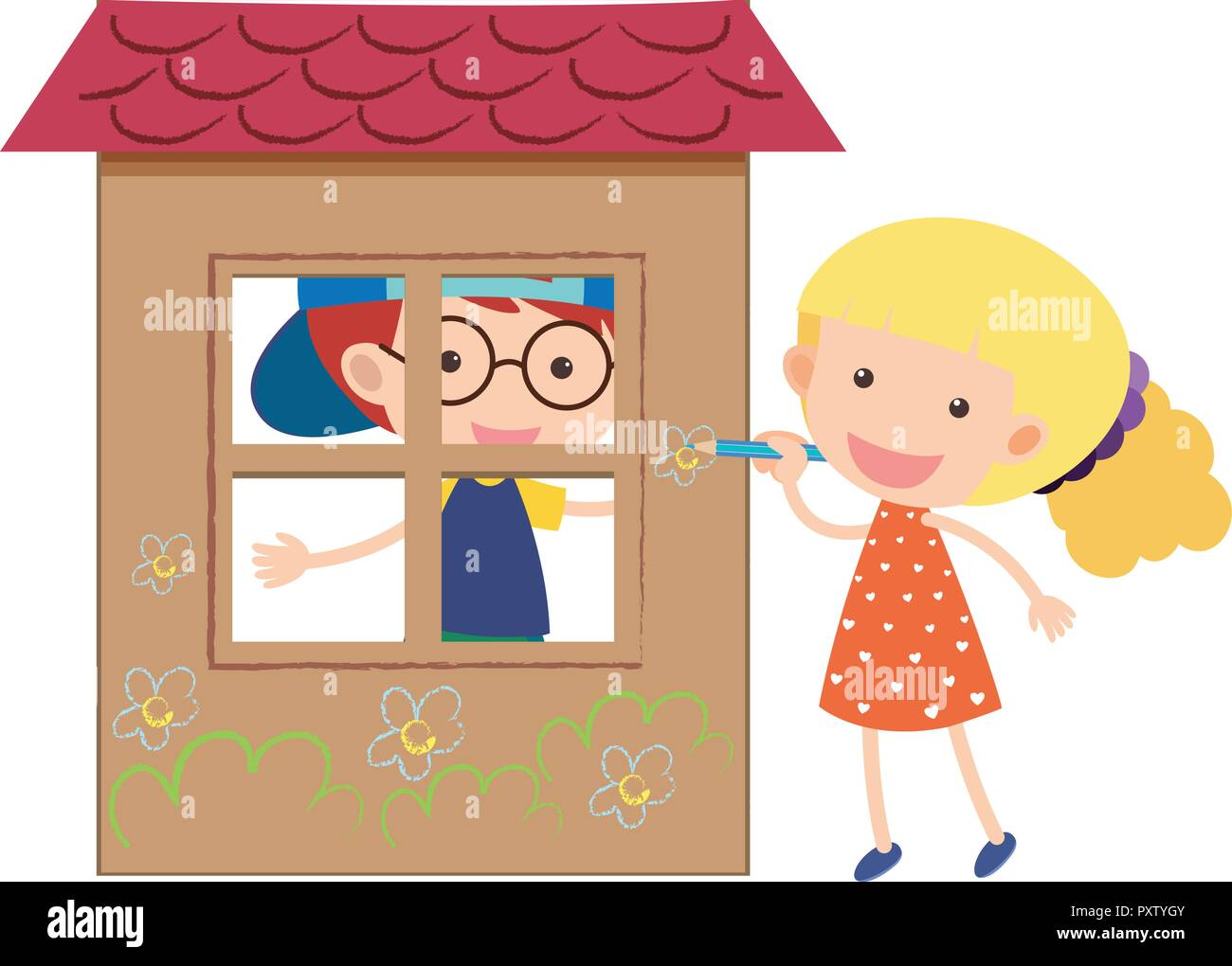 Two kids playing in the playhouse illustration - Stock Vector