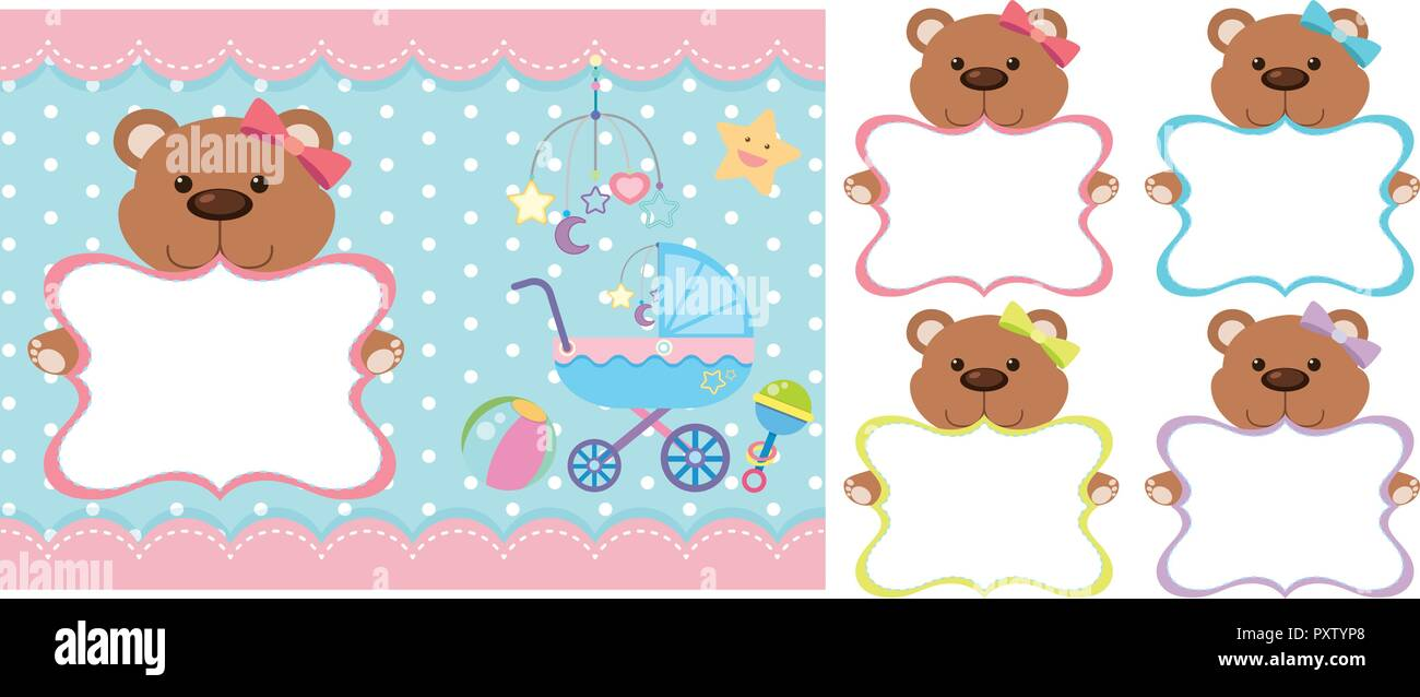 background template with teddy bears illustration stock vector art