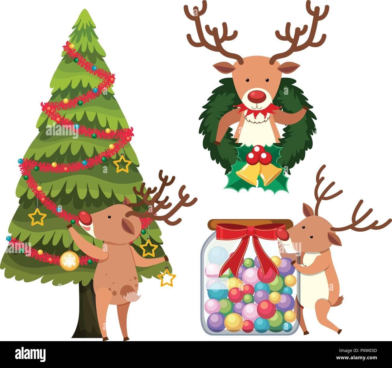 Reindeer decorating christmas tree illustration - Stock Vector