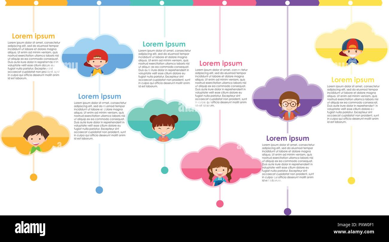 Infographic design with kids and text illustration - Stock Image