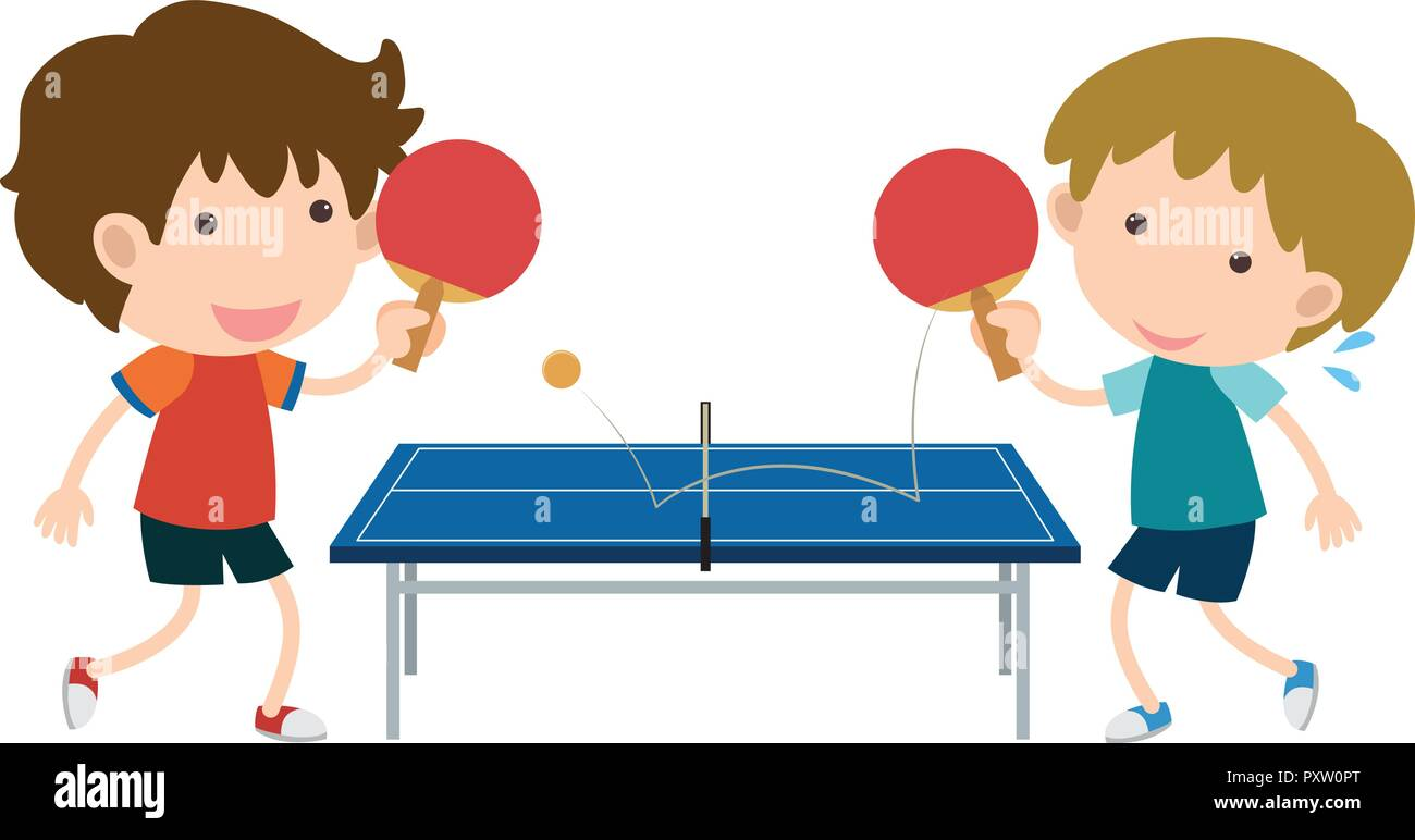 Two boys playing table tennis illustration - Stock Image