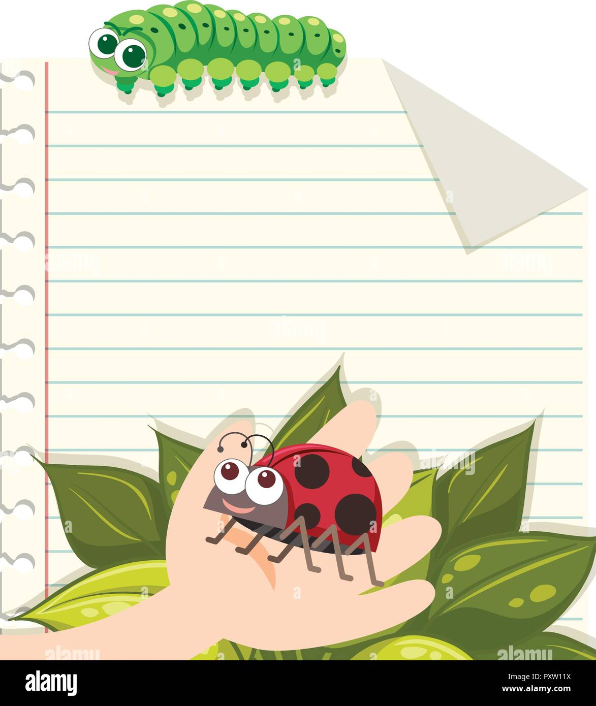 line paper template with ladybug and caterpillar illustration stock