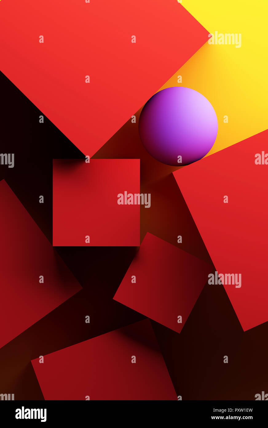 Yellow background with geometric shapes - Stock Image