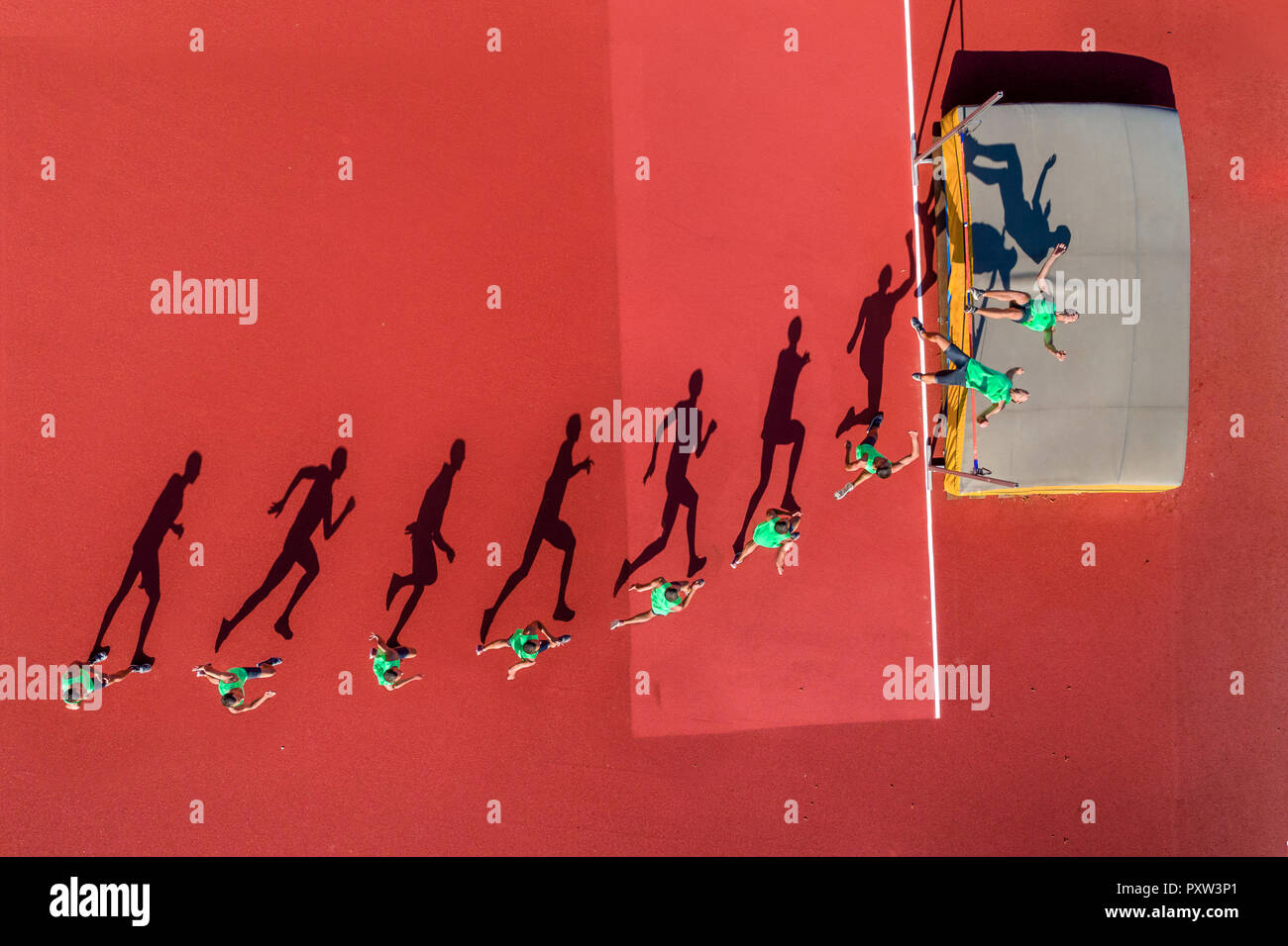 High jumper, sequence - Stock Image