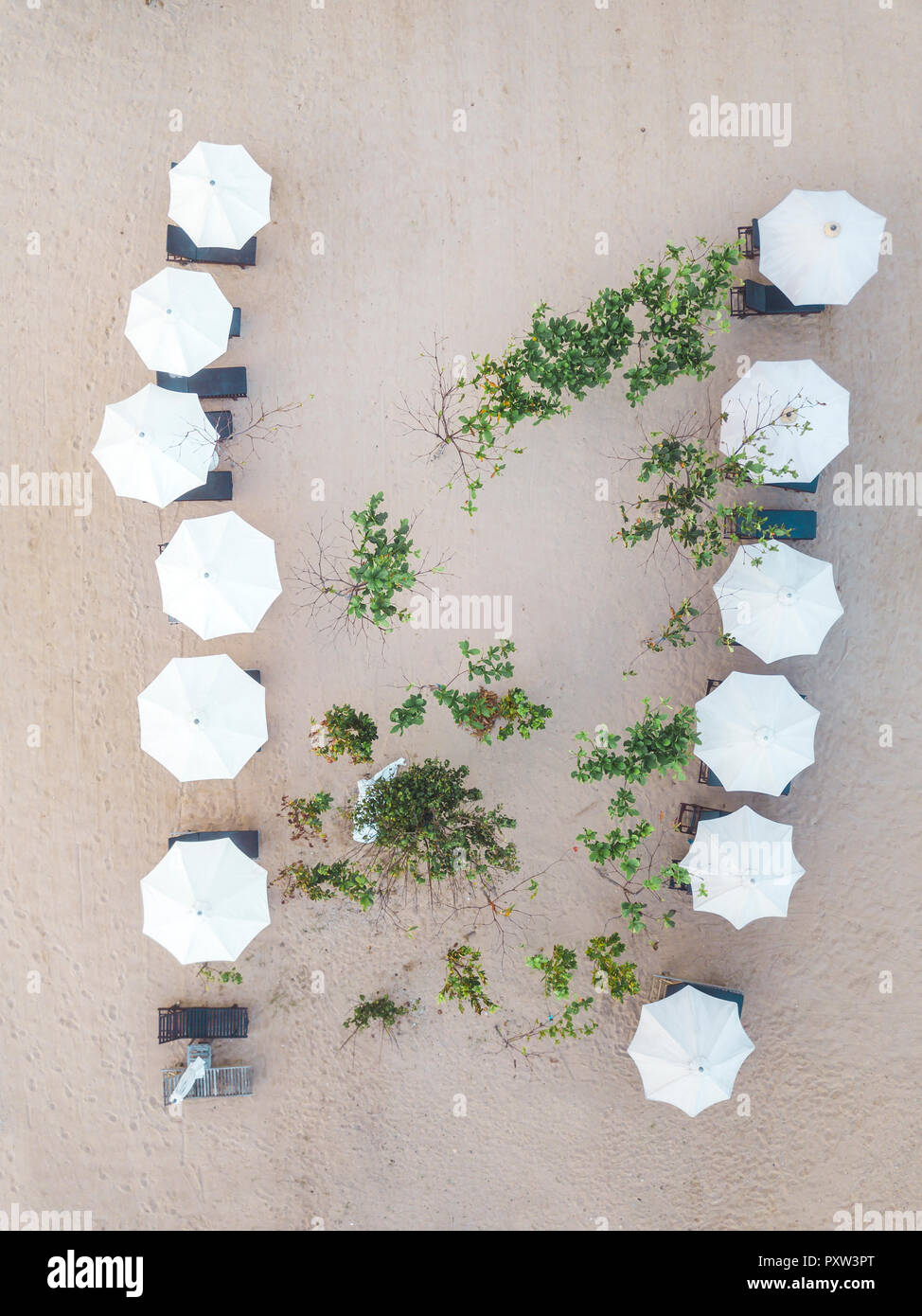 Indonesia, Bali, Aerial view of Nusa Dua beach, sun shades from above - Stock Image