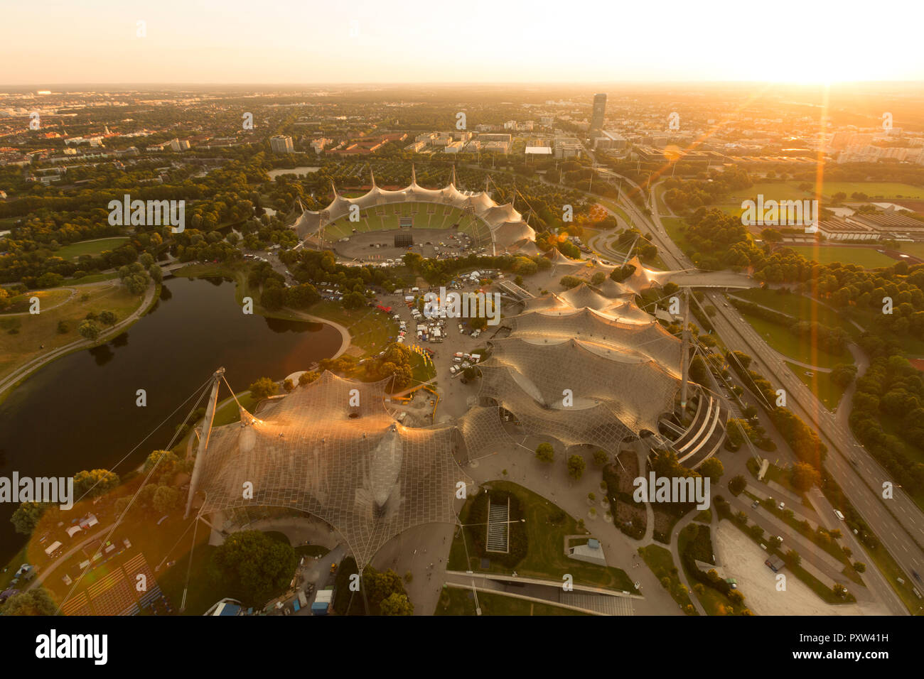 Germany, Munich, View from the Olympic tower over the Olympic area - Stock Image