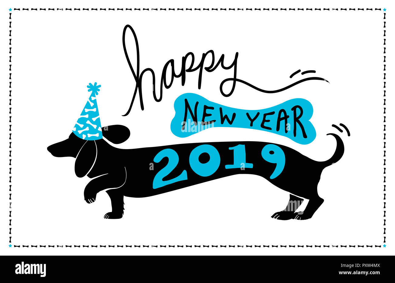 happy new year 2019 background design with cute fun dachshund doxie dog wearing blue party hat with bone pattern and 2019 typography on the puppy art