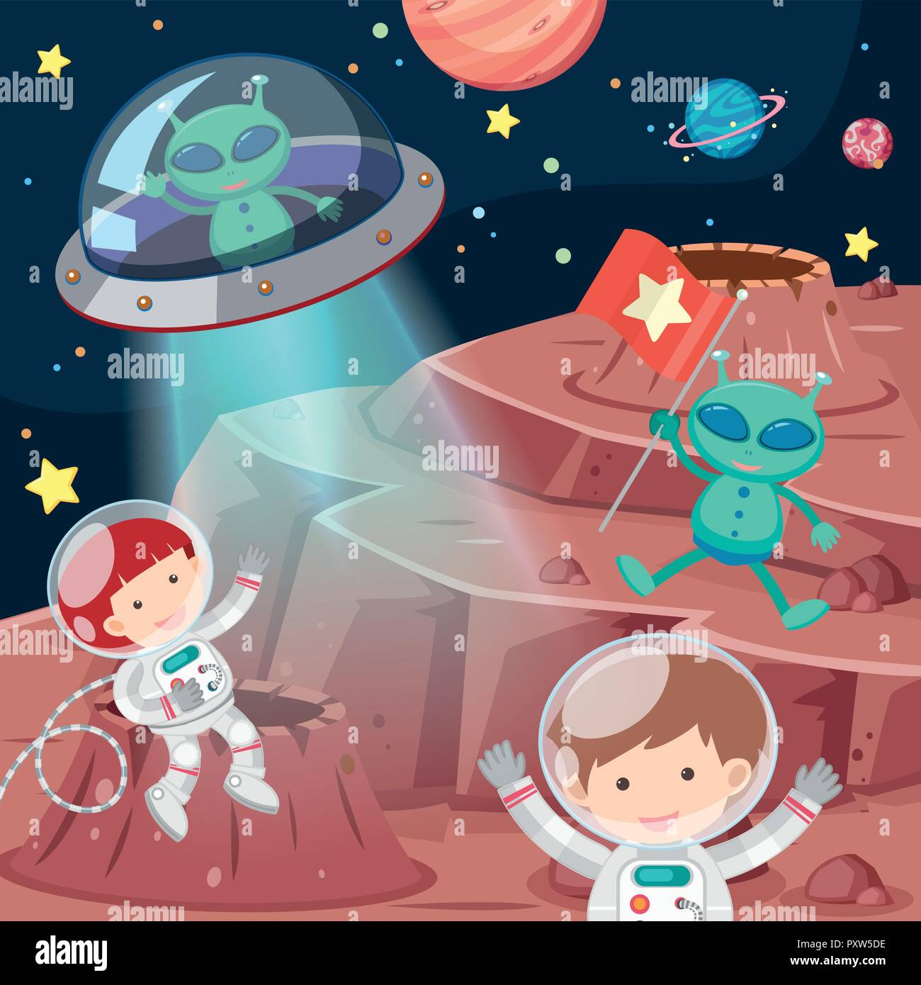 Astronauts and aliens exploring space illustration - Stock Vector