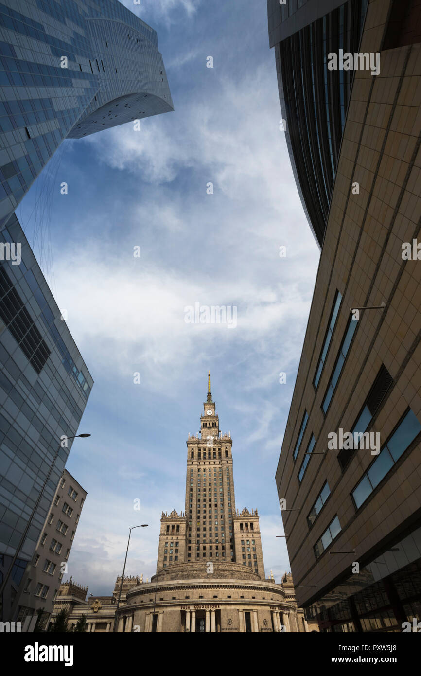 Poland, Warsaw, view to Palace of Culture and Science - Stock Image