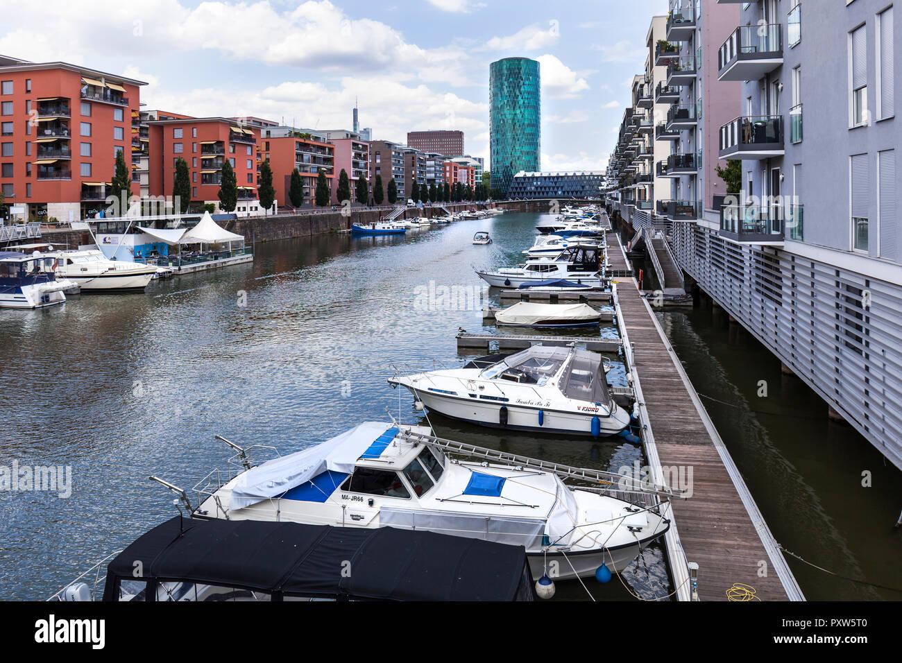 Germany, Hesse, Frankfurt, Westhafen, modern residential houses Stock Photo