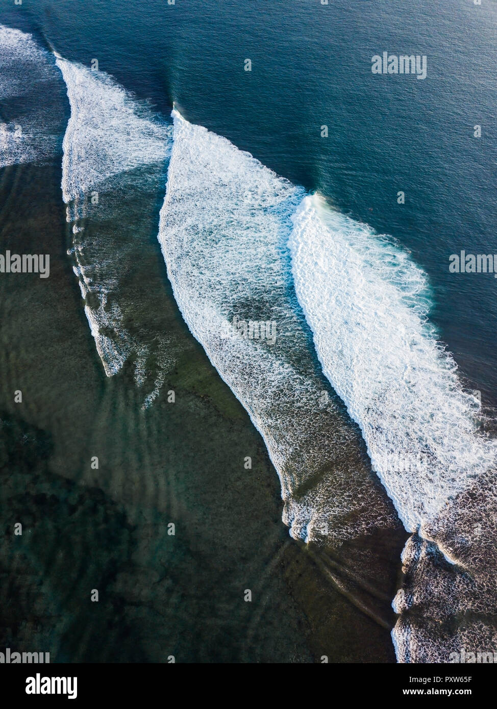 Indonesia, Bali, Aerial view of Indian Ocean, waves Stock Photo