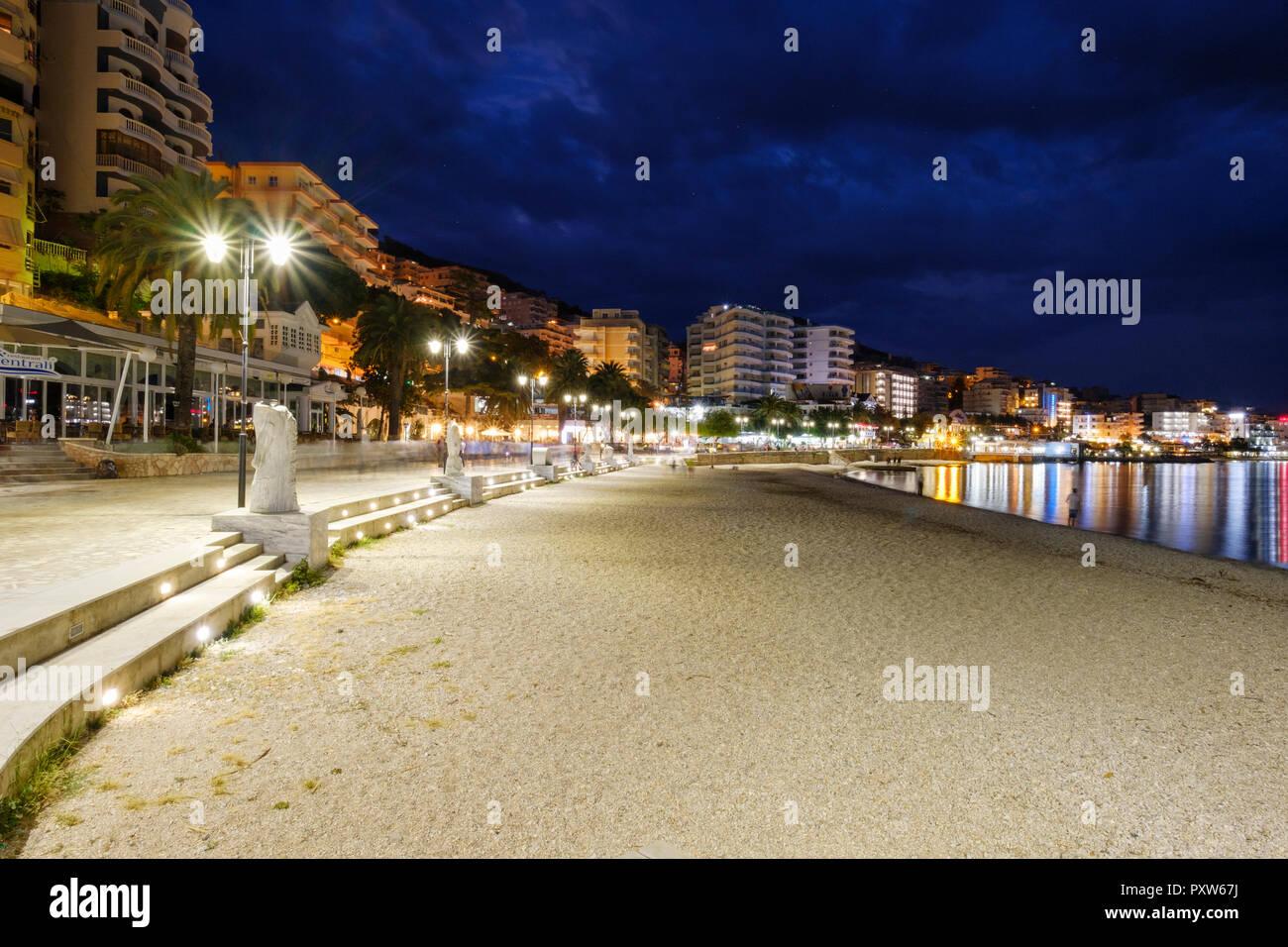 Albania, Vlore County, Saranda, beach at blue hour - Stock Image
