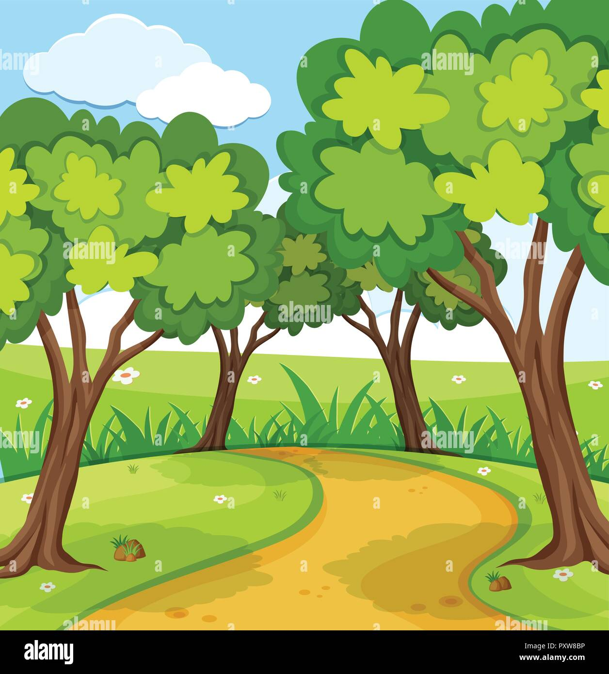 Background Scene With Trees In The Park Illustration Stock Vector Image Art Alamy