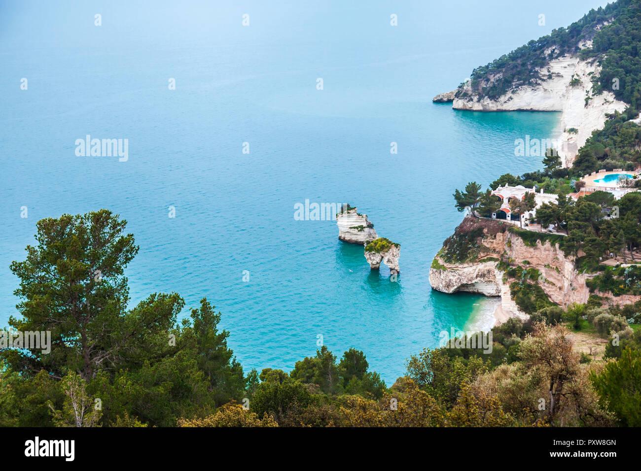Italy, Puglia, Mattinata, Adriatic Sea, Faraglioni beach and Baia delle Zagare beach - Stock Image