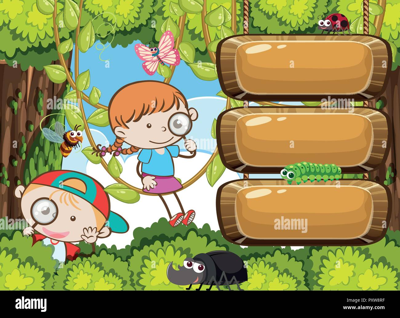 Kids Exploring Rain Forest Banner illustration - Stock Vector