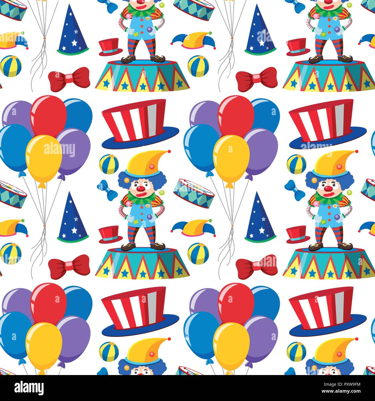 Seamless background with clowns and balloons illustration - Stock Vector